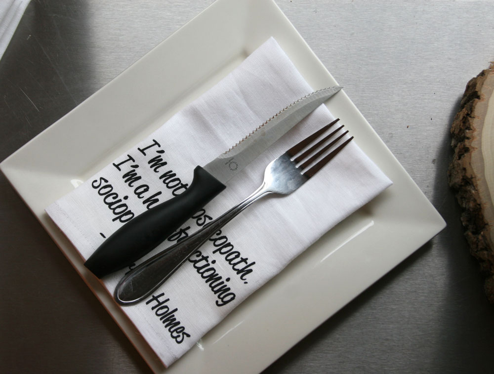 screen printed napkins