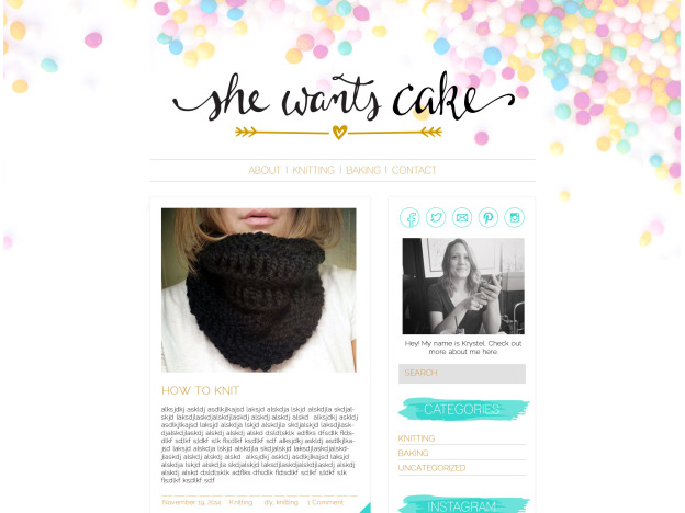 she wants cake blog design