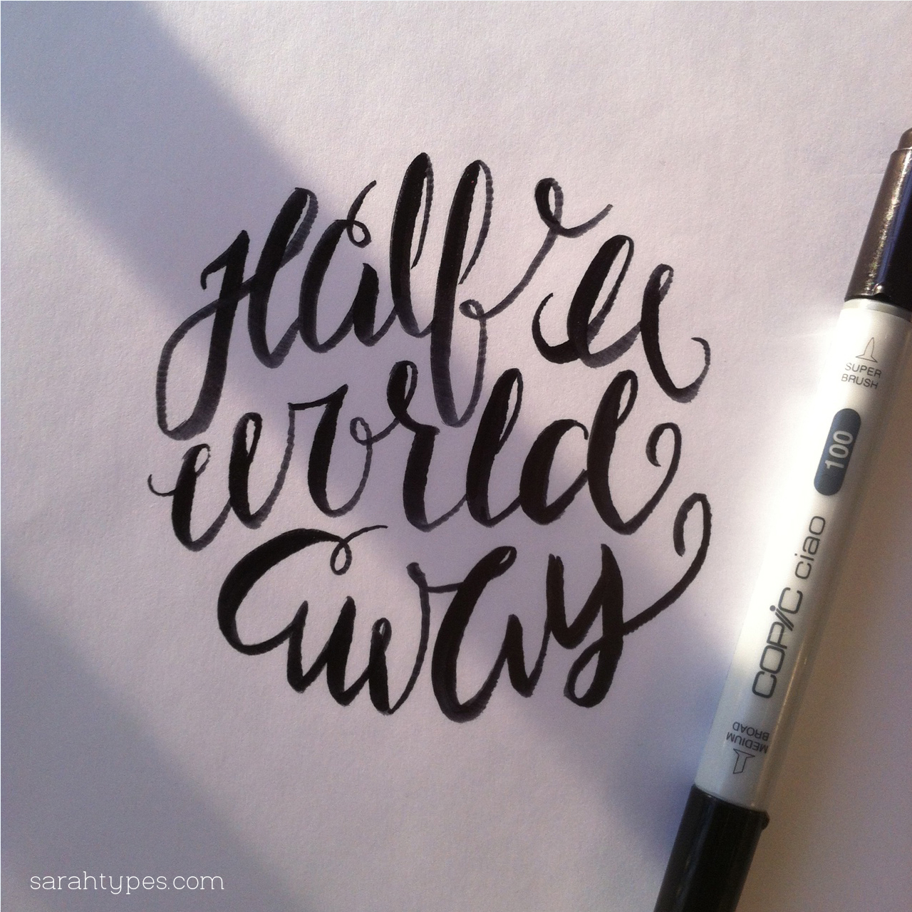 half a world away lettering