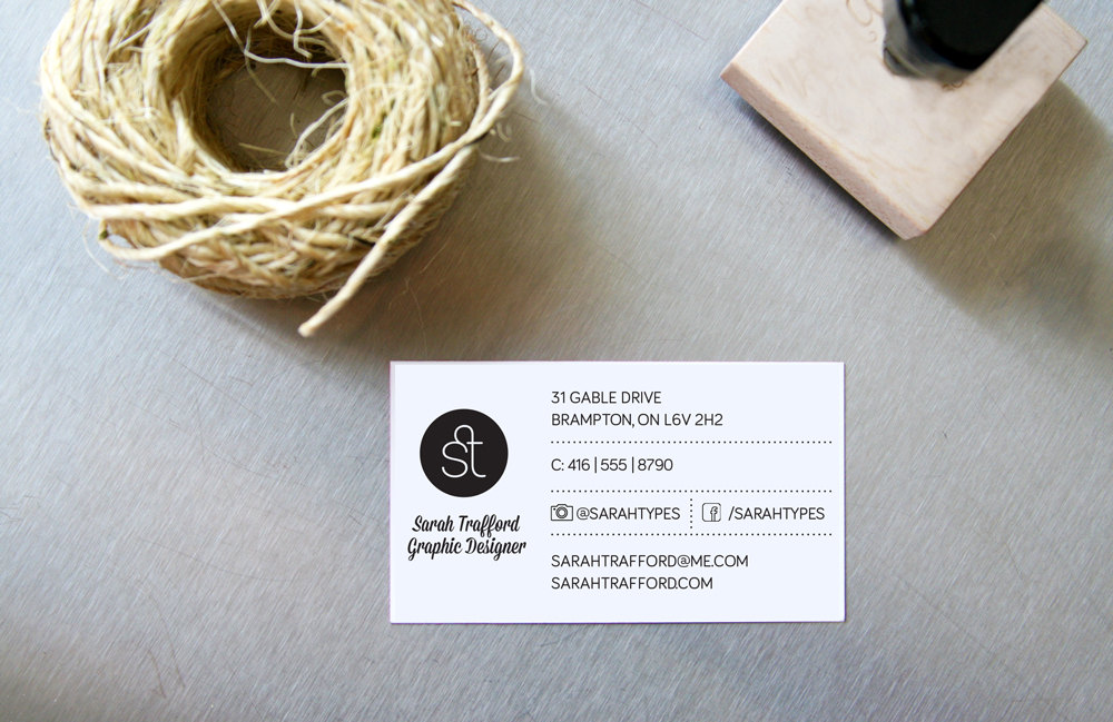 DIY Rubber Stamp Business Cards - Sarah Types