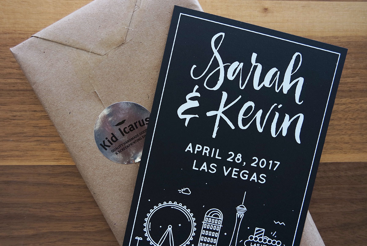 Las Vegas Wedding Invitation Wording: Modern DIY Las Vegas Wedding Invitations