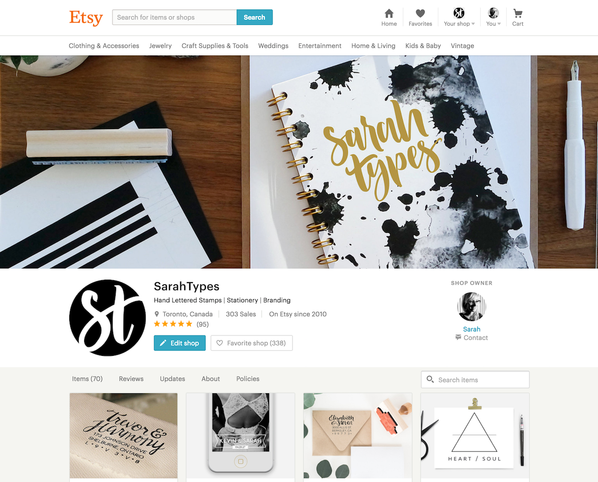 New Branding for Sarah Types Blog and Etsy Shop