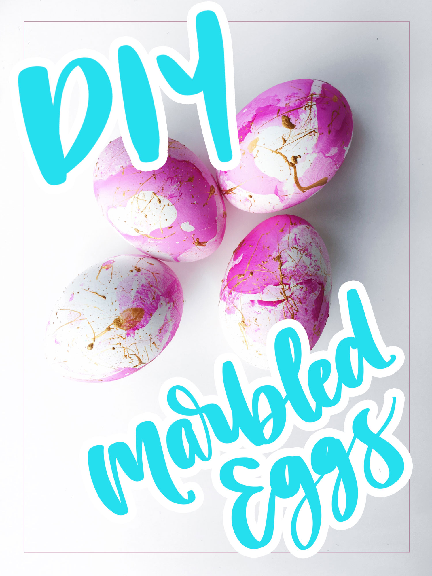 Pink and Gold Marbled Easter Eggs DIY